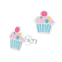 Sterling Silver Enamel Cupcake Stud Earrings image