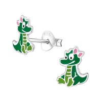 Sterling Silver Enamel Crocodile Stud Earrings image
