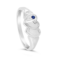 Sterling Silver Double Heart Blue Spinel Signet Ring image