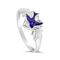Sterling Silver Heart Bluebird Signet Ring image