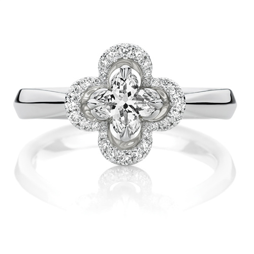18ct White Gold Lily Cut Diamond Engagement Ring