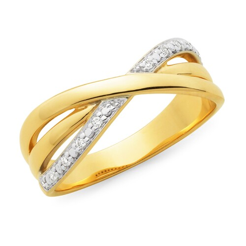 Yellow Gold Crossover Diamond Set Band