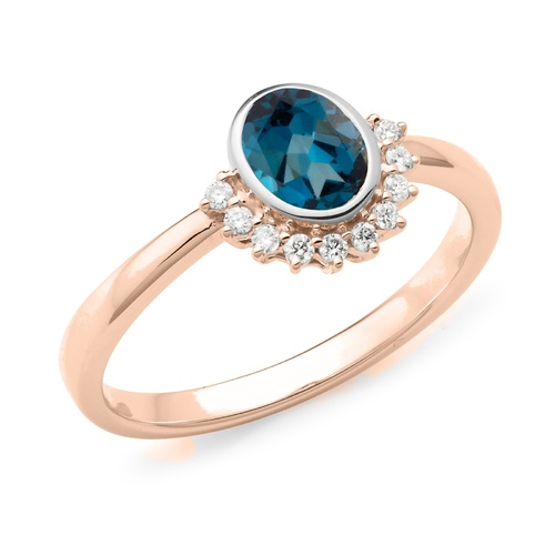 9ct Rose Gold Oval London Blue Topaz And Diamond Ring