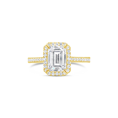 9ct Yellow Gold Emerald Cut Cubic Zirconia Halo Set Ring