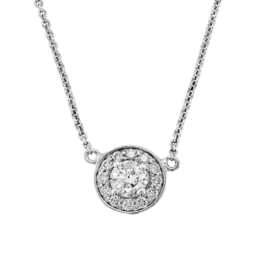9ct White Gold Diamond Halo Pendant