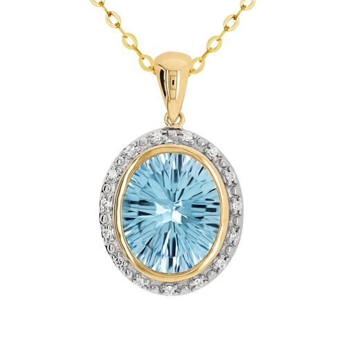 9ct Yellow Gold Natural Oval Blue Topaz And Diamond Pendant
