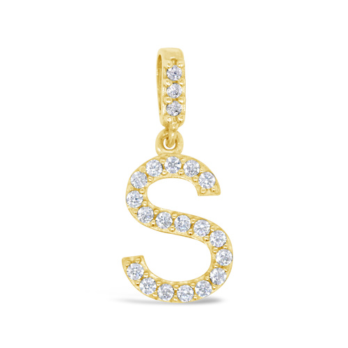 9ct Yellow Gold Cubic Zirconia Set Initial S Pendant