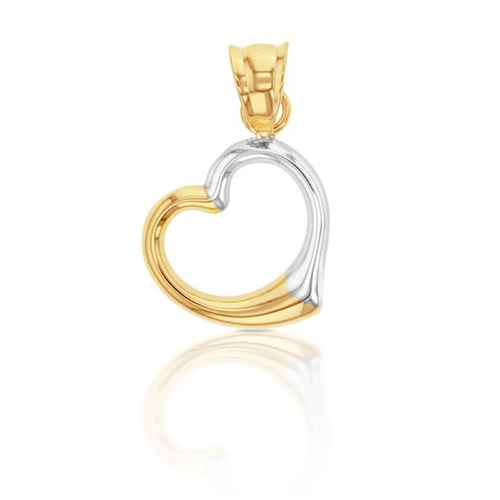 9ct Two Tone Polished Heart Pendant