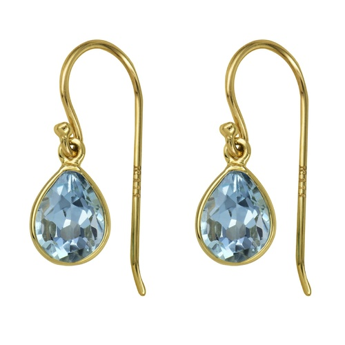 9ct Yellow Gold Natural Blue Topaz Hook earrings