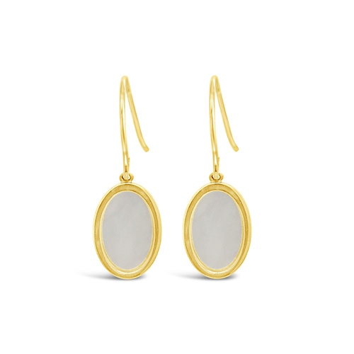 9ct Yellow Gold Mother Of Pearl Hook Earrings