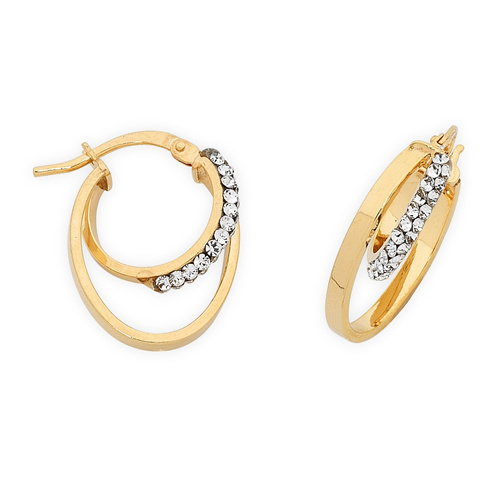 9ct Yellow Gold Cubic Zirconia Set Hoops