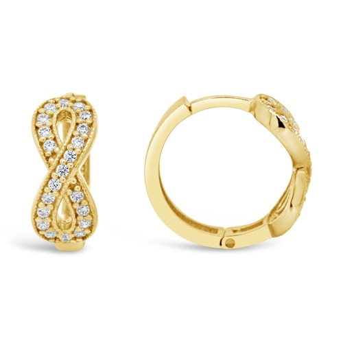9ct Yellow Gold Infinity Huggies Set With Cubic Zirconia