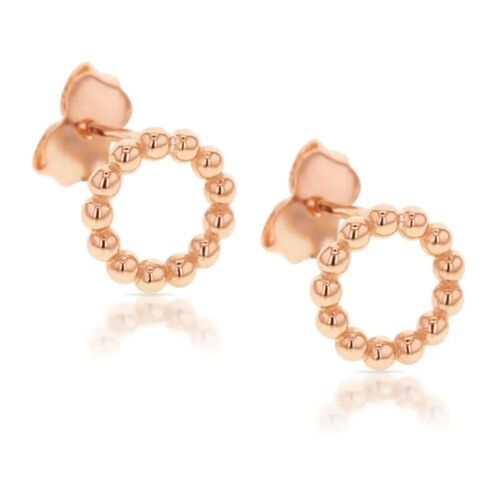 Rose Gold Open Beaded Stud Earrings