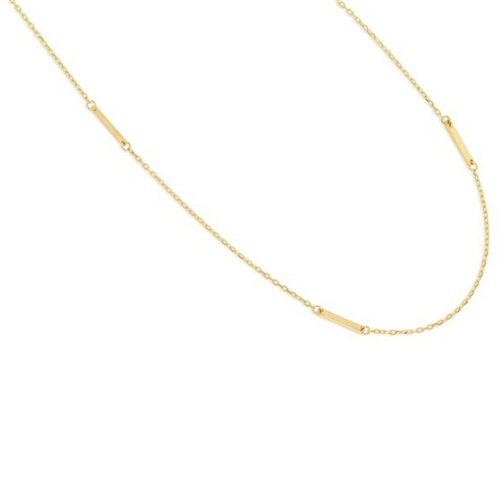 9ct Yellow Gold Polished Bar And Chain Pendant