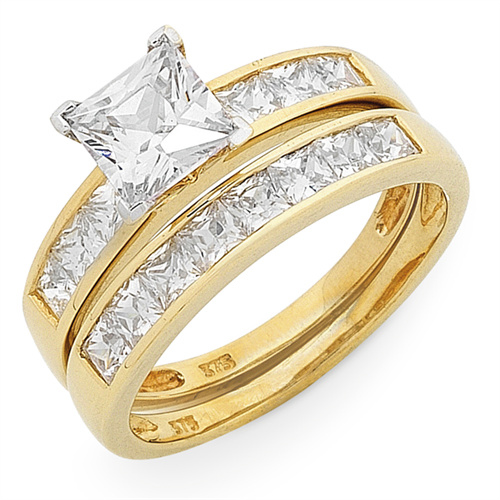 Yellow Gold CZ Engagement & Wedder Set