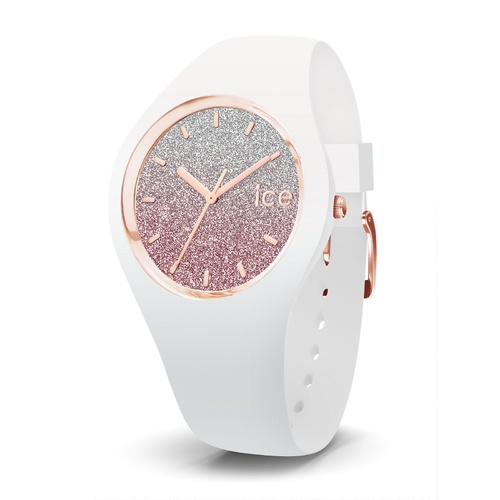 ICE Lo Collection Rose and White Glitter Silicon Watch