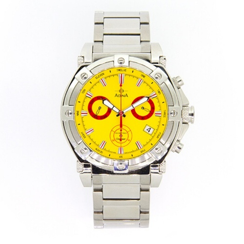 Adina Mens Yellow Index Stainless Steel Watch