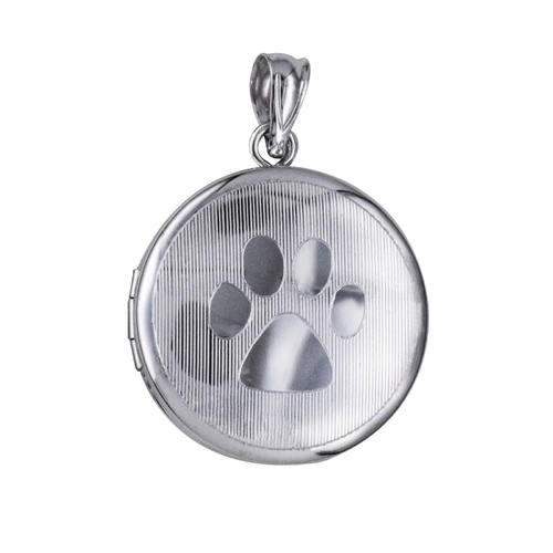 Sterling Silver Round Paw Print Memorial Locket