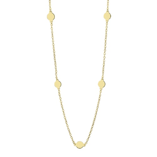 Yellow Gold Plated Fine Chain Necklace With Discs