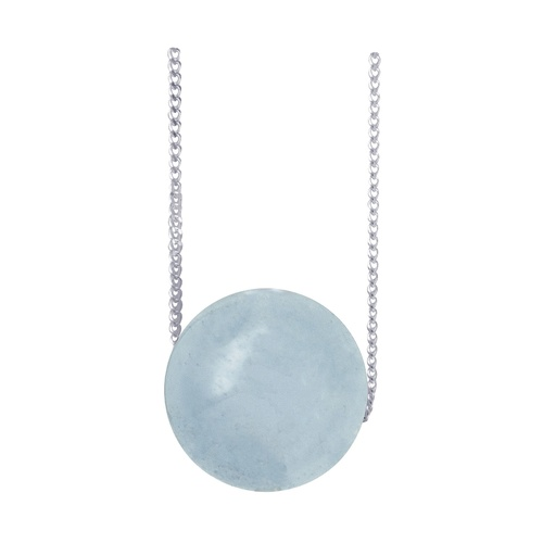 Sterling Silver Aquamarine Bead On Sterling Silver Chain
