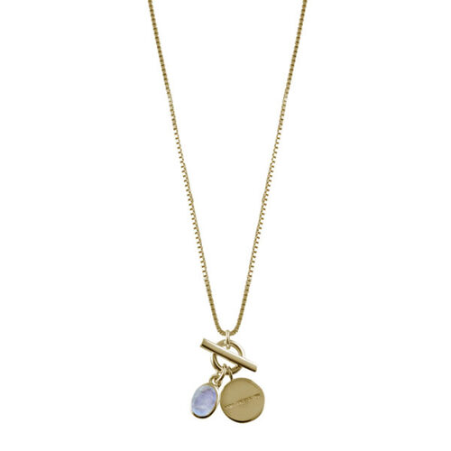Von Treskow Gold Filled Moonstone & Disc Necklace