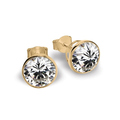 Yellow Gold Plate 6mm Fine Bezel Set Cz Stud Earrings