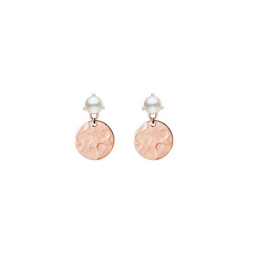 Rose Gold Plated Pearl And Hammered Disc Drop Earrings