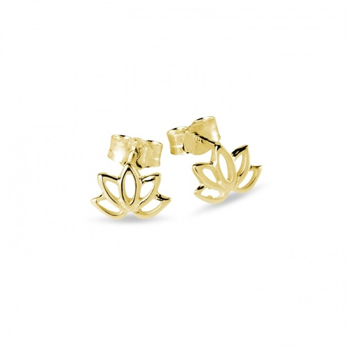 Yellow Plated Lotus Flower Stud Earrings