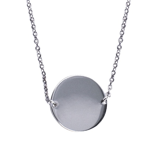 Sterling Silver Flat Disc Necklace