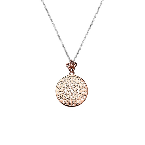 Sterling Silver and Rose Plated Filigree Flower Necklace