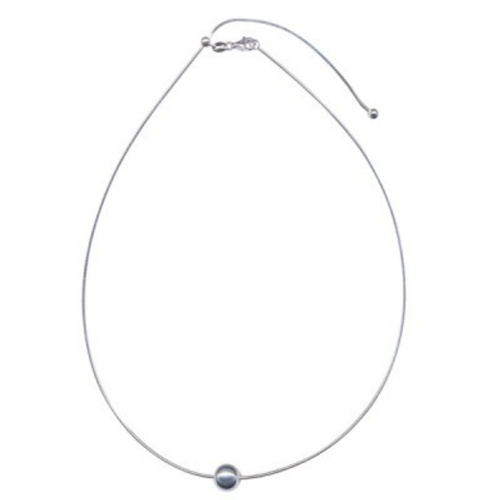 Sterling Silver Round Omega Ball Necklace