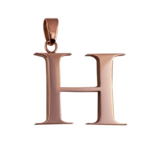 Rose Plated Stainless Steel Letter H Pendant