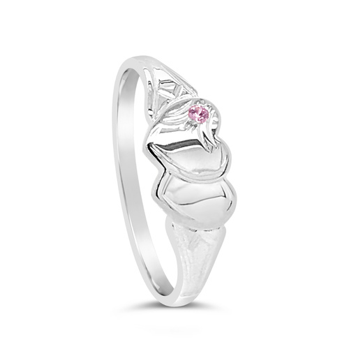 Sterling Silver Double Heart Pink Cz Signet Ring