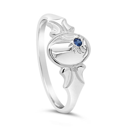 Sterling Silver Oval Blue Spinel Signet Ring [Ring Size: Size E]