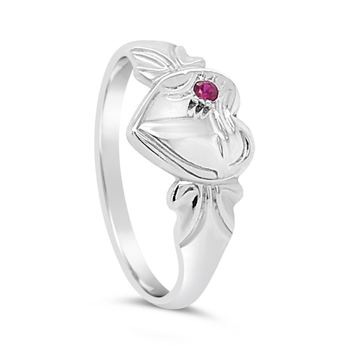 Sterling Silver Single Heart Garnet Cz Signet Ring [Ring Size: Size F]